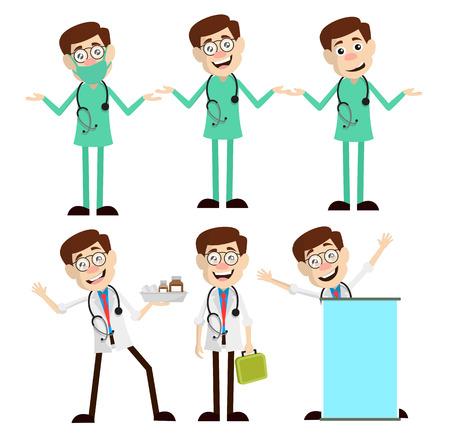 Various Cartoon Doctor Concepts Vector Set