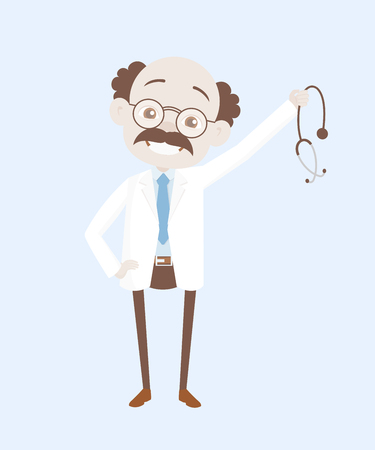 Happy Gastroenterologist Showing Stethoscope Vector Illustration