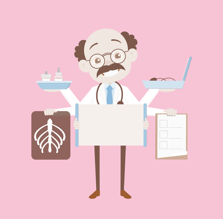 Funny Smiling Orthopedic Surgeon with Medical Objects Vector Illustration