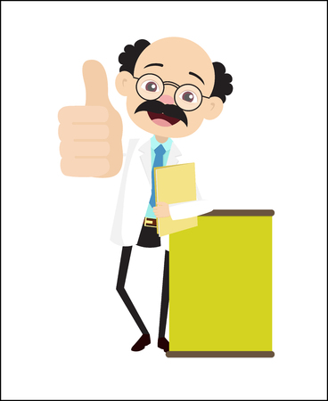 Doctor Showing Thumbs Up with Message Banner Vector Illustration