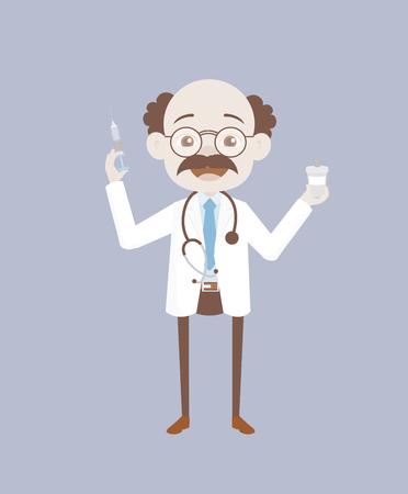 Joyful Forensic Pathologist with Syringe and Medicine Vector