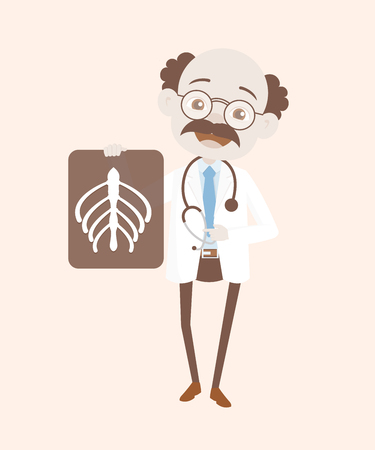 Comic Happy Doctor with Bones X-ray Report Vector