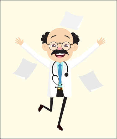 Cheerful Doctor Jumping in Excitement Vector Illustration