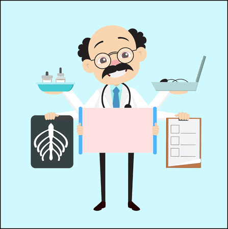 Cartoon Doctor with Many Medical Equipments Vector
