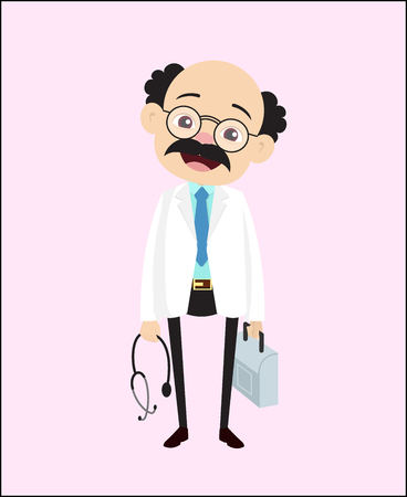 Smiling Adult Family Doctor Character Vector