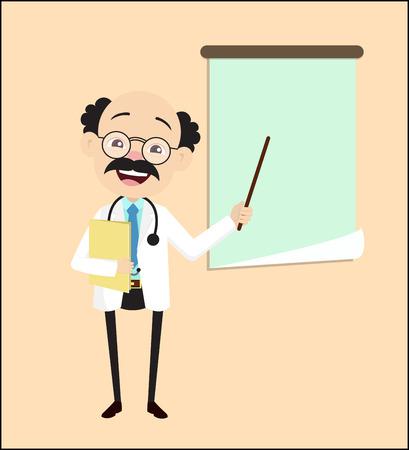 Cartoon Doctor Professor Presenting in Seminar Vector Illustration