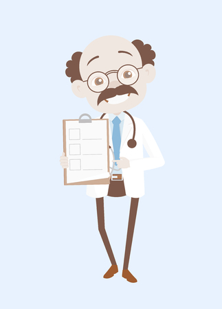 Cheerful Doctor Showing Medical Report Checklist Vector