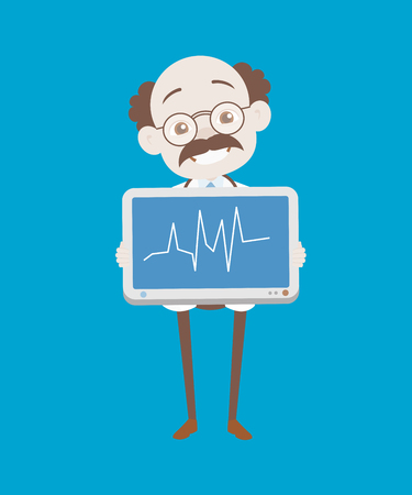 Cheerful Doctor Showing Line Graph Vector