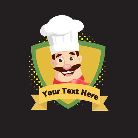 Chef mascot on shield logo style Vector Illustration