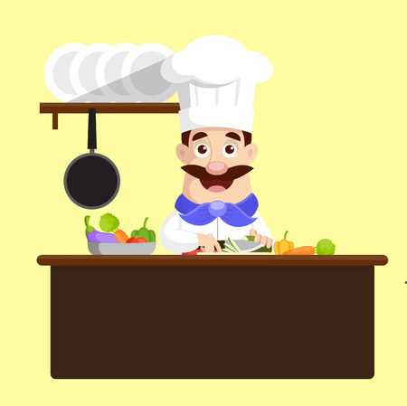 Chef Cutting vegetables Vector Illustration