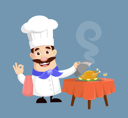Chef serving Chicken Vector Illustration