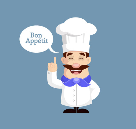 Flat Design Chef Bon Appetit Vector Illustration