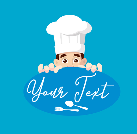 Chef with Text Banner Vector Illustration Ilustração