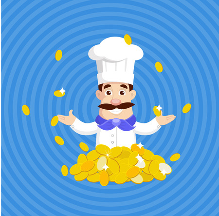 Chef with Gold Coins - Rich Concept Vector Illustration
