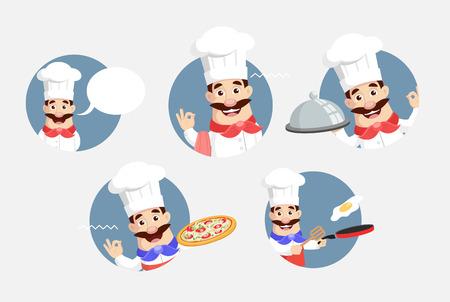 Flat Design Chef Circular Bannners Vector Illustration Stock Illustratie