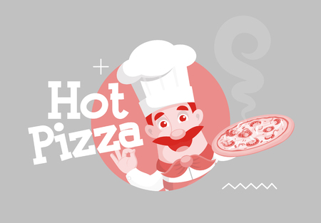 Flat Design Chef Banner with Hot Pizza Text  Vector Illustration Stock Illustratie