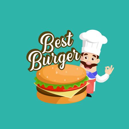 Flat Design Chef with Best Burger Banner Vector Illustration