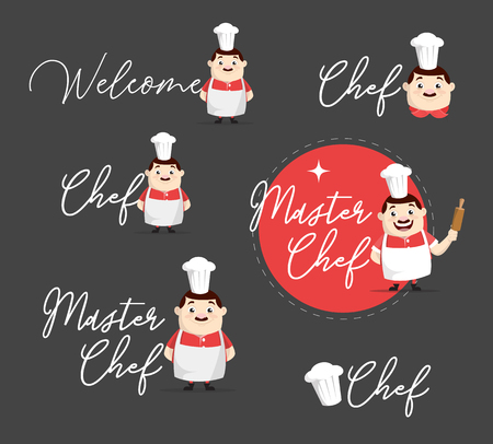Flat Design fat chef with various text banners Vector Illustration