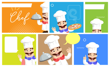 Flat Design various Chef banners Vector Illustration