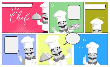 Comic Panel Strip Chef banners Vector Illustration