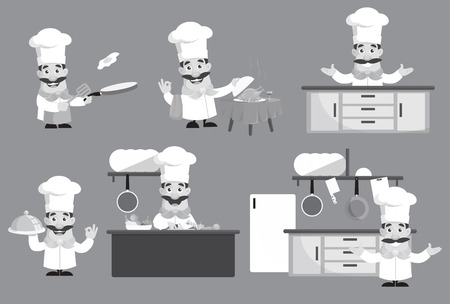 Various Flat Design Chef Gestures  Vector Illustration