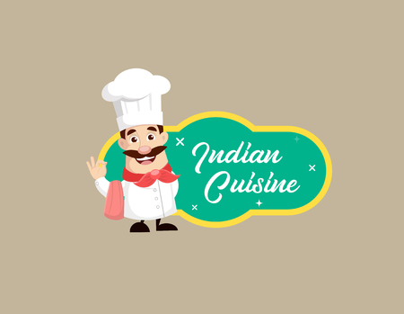 Chef with Indian Cuisine Banner Vector Illustration