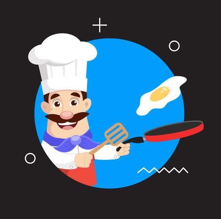 Fry chef Vector Illustration Illustration