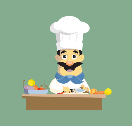 Flat Design chef manager Vector Illustration Ilustração