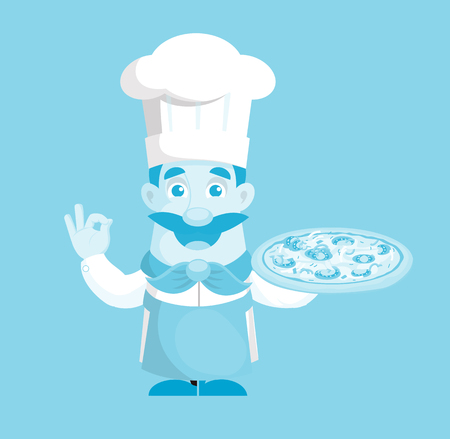 Flat Design professional Pizza cook Vector Illustration