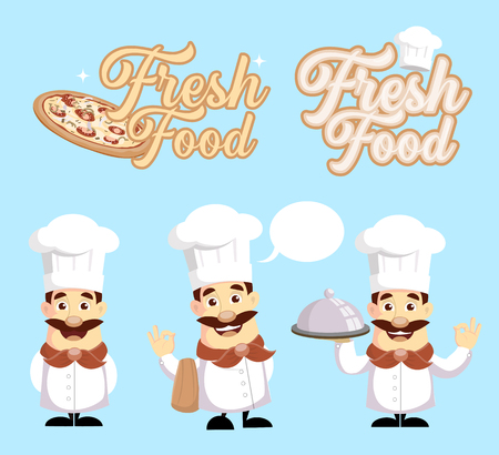 Fresh Food Logo and Chef Vector Illustration