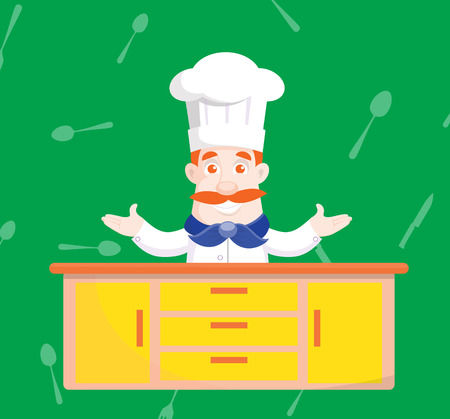 Flat Design cooking master Vector Illustration