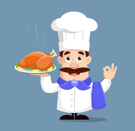 Chef holding roasted chicken Vector Illustration