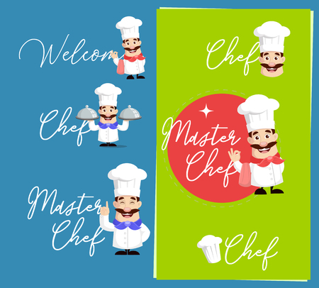 Flat Design Chef Text Banners Vector Illustration
