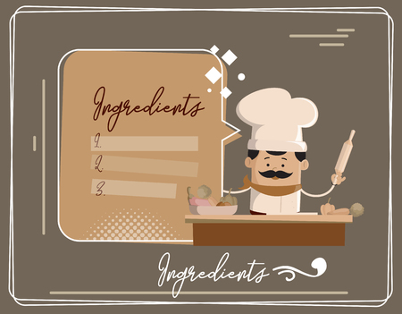 Cartoon Chef ingredients of dish Flat Vector Illustration Design Illustration