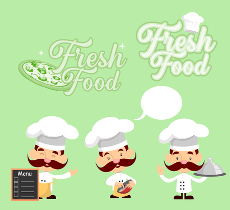 Fat Cartoon Chef with double pizza Flat Vector Illustration Design