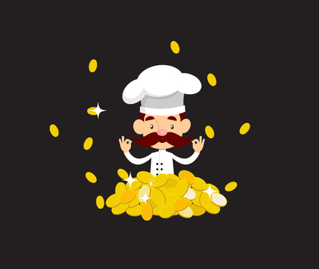 Fat Cartoon Chef ready to serve Flat Vector Illustration Design