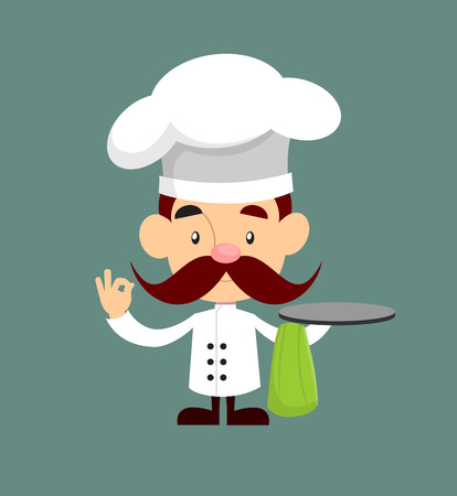 Fat Cartoon Chef in kitchen with menu Flat Vector Illustration Design
