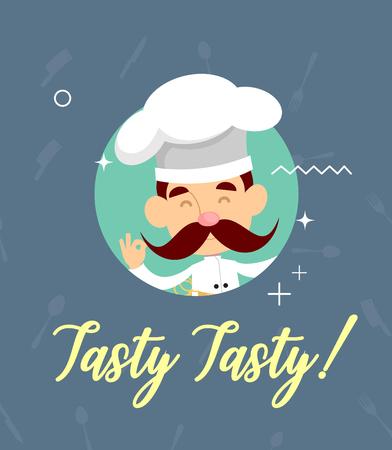 Fat Cartoon Chef posing Flat Vector Illustration Design