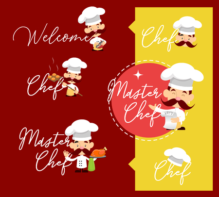 Fat Cartoon Chef holding meat knife Flat Vector Illustration Design Illustration