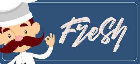 Fat Cartoon Chef cheerful Flat Vector Illustration Design