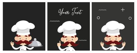 Fat Cartoon Chef with sushi Flat Vector Illustration Design