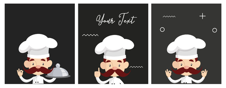 Fat Cartoon Chef with sushi Flat Vector Illustration Design
