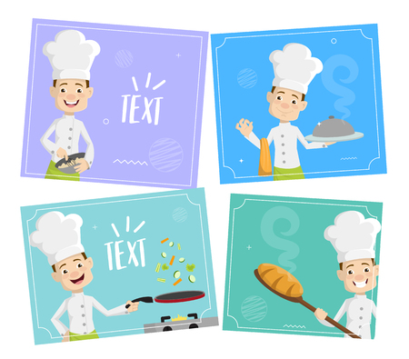 Chef Vector Illustration Design -  standing with blank board