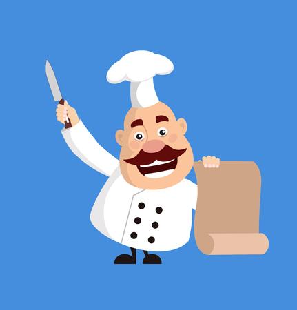 Fat Cartoon Chef holding list and knife Flat Vector Illustration Design