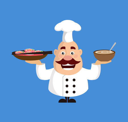 Fat Cartoon Chef soup and sushi Flat Vector Illustration Design