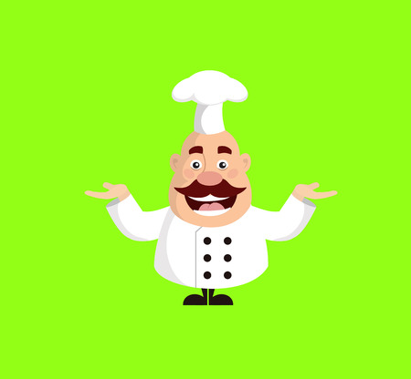 Fat Cartoon Chef cheerful Flat Vector Illustration Design