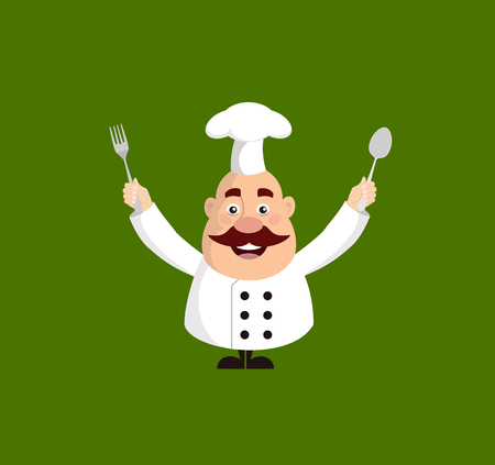 Fat Cartoon Chef holding fork and spoon Flat Vector Illustration Design