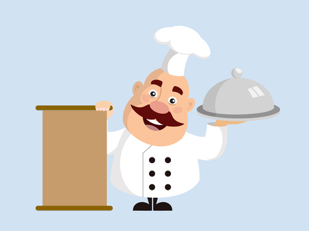 Fat Cartoon Chef standing with menu and food Flat Vector Illustration Design
