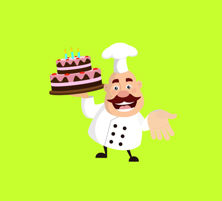 Fat Cartoon Chef with cake Flat Vector Illustration Design