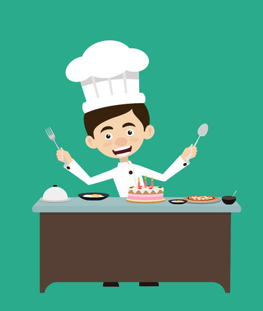 Chef Vector Illustration Design -  Preparing for birthday party Illustration